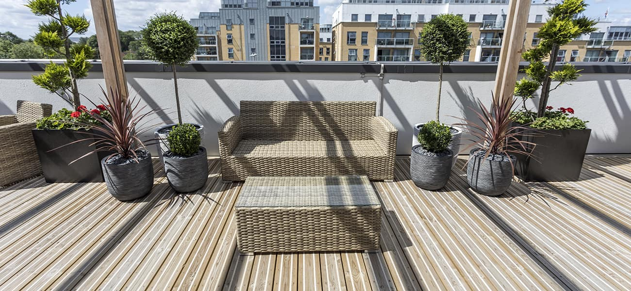 Roof balcony in London using Citideck smooth profile antislip decking from Marley Ltd