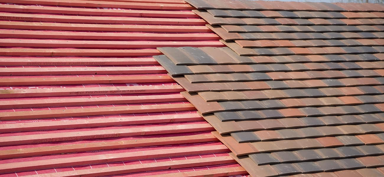 Roof detail showing red batten and clay tile