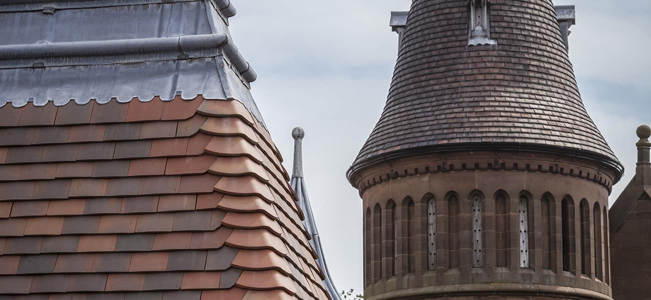 Roof detail showing hip and Acme Double Camber tiles and a tour on the right