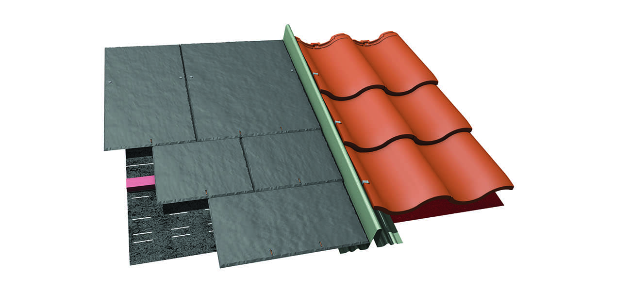An image of dry fix bonding gutters which meets BS 5534 requirements and NHBC guidelines, available from Marley.