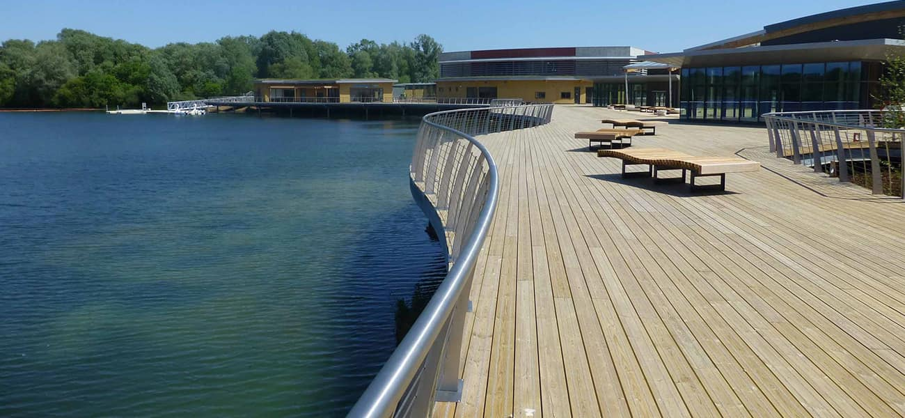 Citdeck by Marley Ltd Rushden Lakes showing anti slip decking