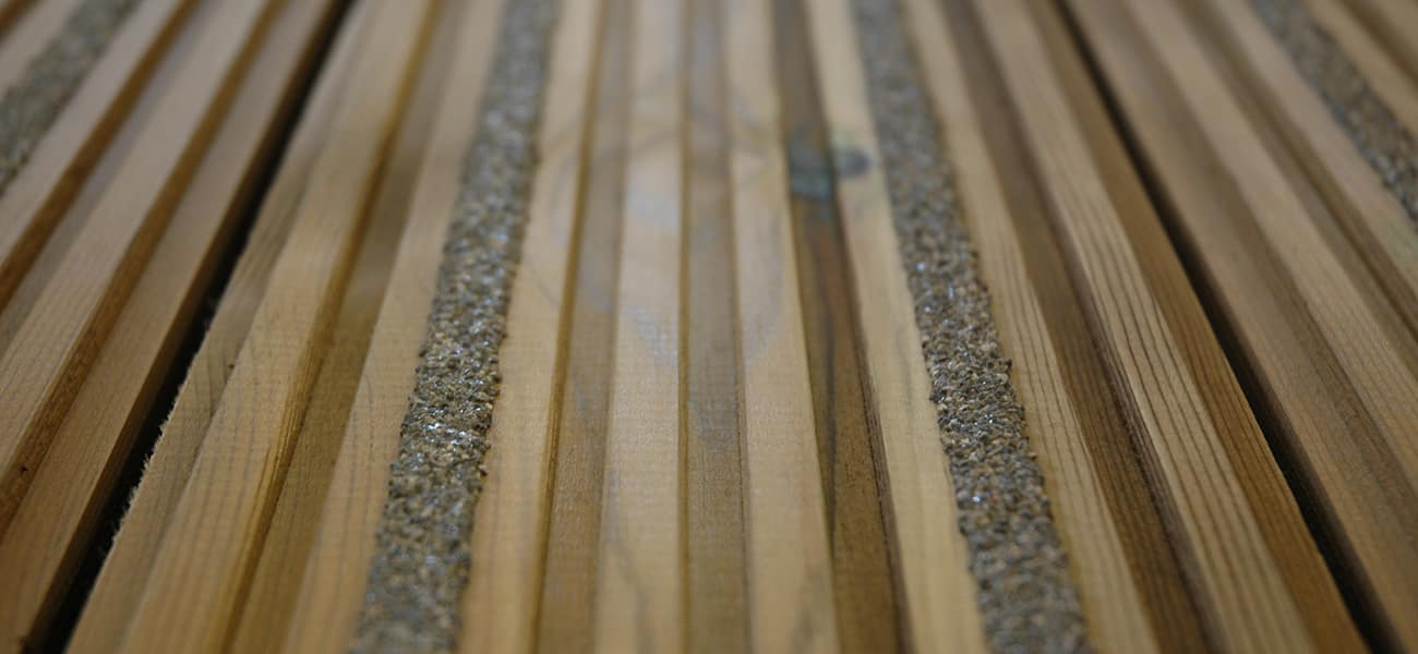 Close-up view on timber decking