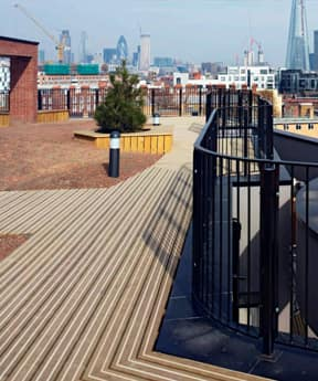 An image of Marley classic anti-slip decking, laid on a large balcony space.