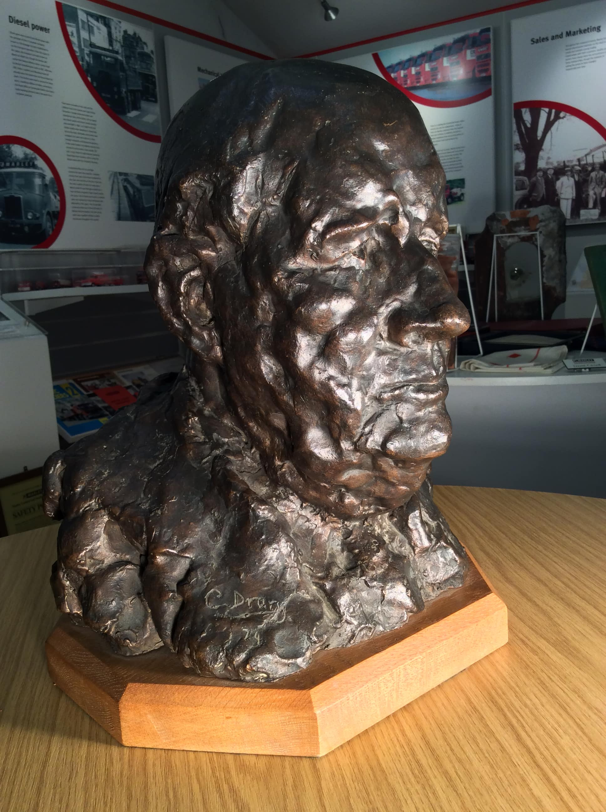 Bronze bust of Sir Owen AIsher