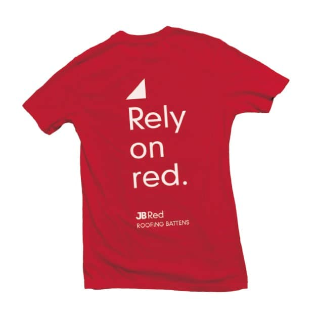 T-shirt promoting JB Red battens by Marley