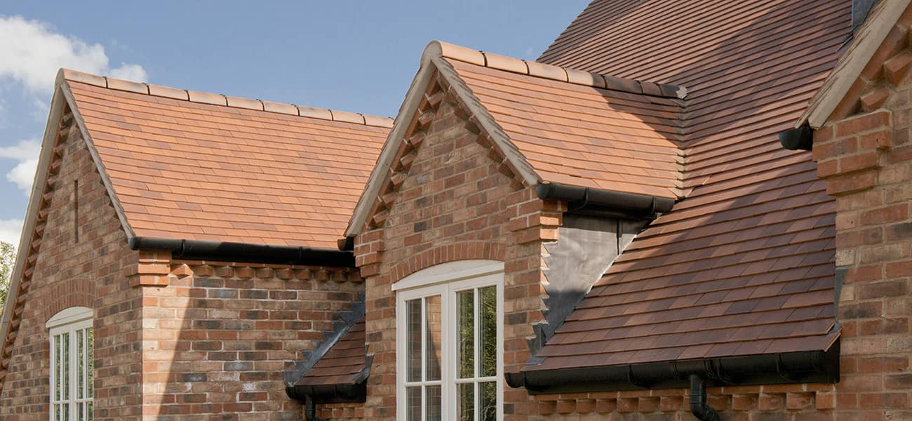 Close up view of the roof showing valley ridge with Acme Single Camber used