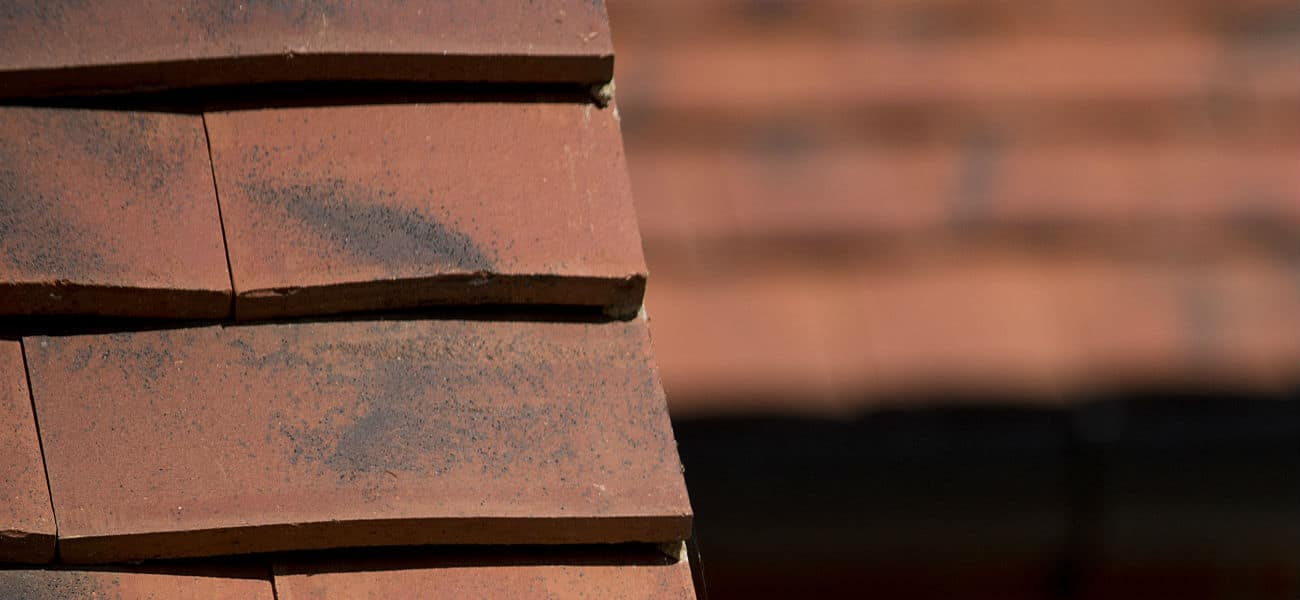 A close up image of Ashdowne, handcrafted, clay plain tiles in situ on a roof.