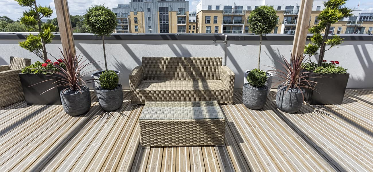 An image of non-slip citi-Deck decking, on a large balcony space at George House.