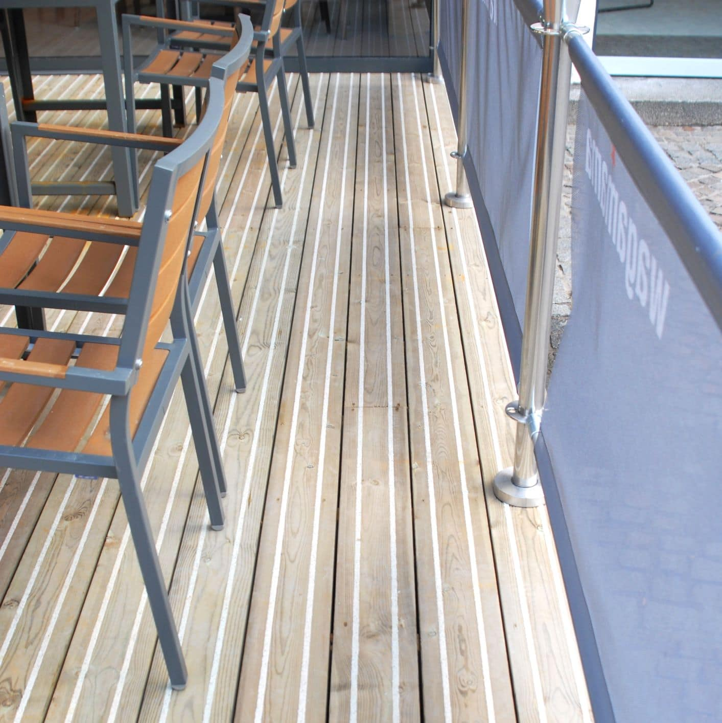 Decking on restaurant floor