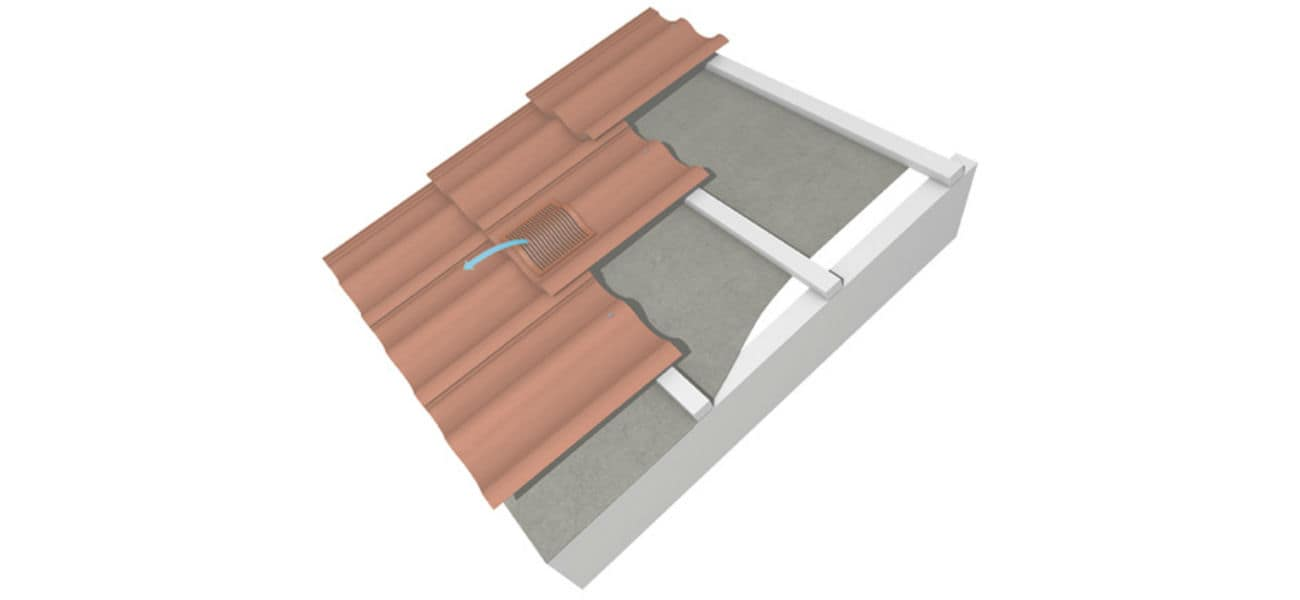 An image of contour in line roof vents, in situ on a roof, available from roofing systems specialists, Marley.