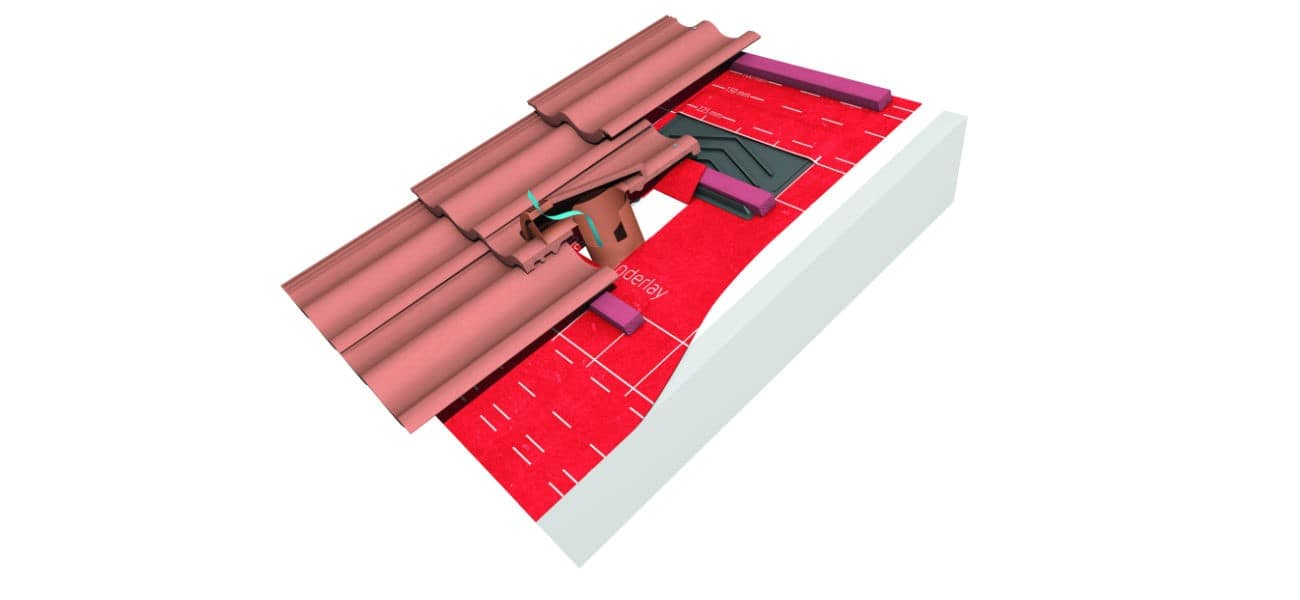 Image of tile vent terminal suitable for large format concrete interlocking tiles available from Marley